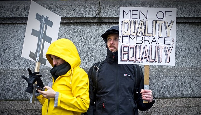 Men of Quality Embrace Equality Sign Holder